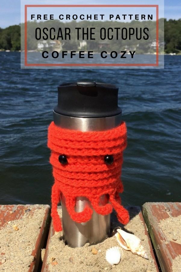 Oscar the Octopus coffee cozy - free crochet pattern to keep your coffee warm. #coffeecozy #crochetpattern