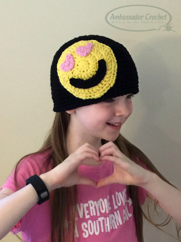 Emoji Crochet heart hat - book review & giveaway by Ambassador Crochet.