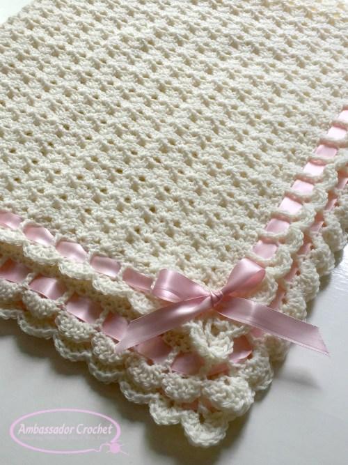 Pemberley Heirloom Baby Blanket crochet pattern by Ambassador Crochet.
