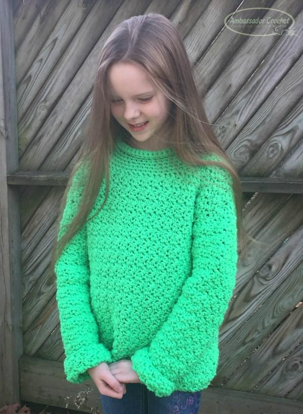 The Wanderer Sweater crochet pattern for kids. by Ambassador Crochet.