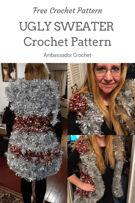 Make your own ugly Christmas sweater with tinsel garland using this crochet pattern.