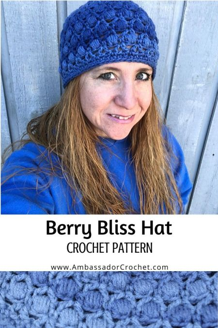 blue textured bobble stitch hat
