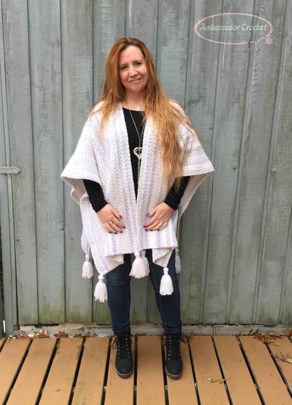 Blanket Wrap Crochet Pattern Blue Ridge Ruana PDF 264