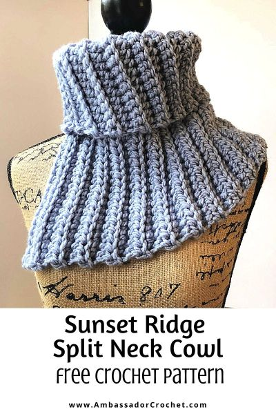 Sunset Ridge Split Neck Cowl - free crochet pattern by Ambassador Crochet