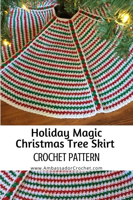 fun and textured red green and white christmas tree skirt