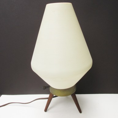 vintage beehive lamp plastic shade wood tripod legs mid century