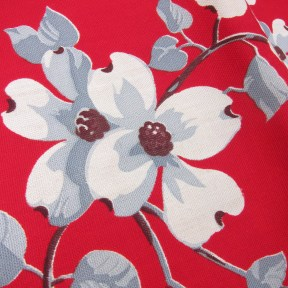 vintage wilendur tablecloth dogwood print red with tag