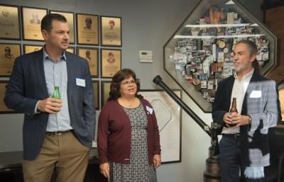 James Gardner of AMBayArea, Zeydi Gutierrez of AB&I Foundry and AMBayArea Board Chair, and Mike Crist of CFP Insurance