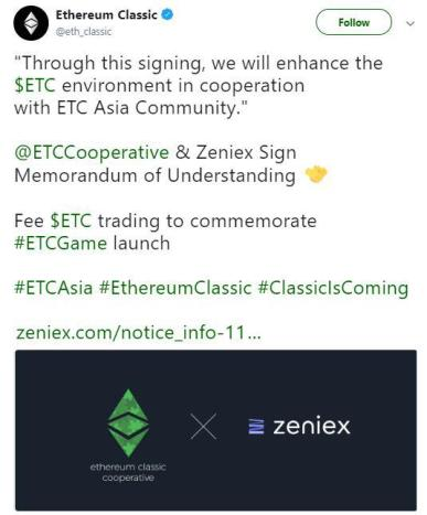 Ethereum Classic's announcment on their Twitter page