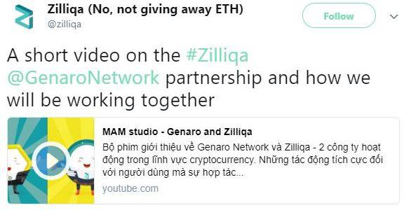 Zilliqa's video on their Twitter page. Source: Twitter