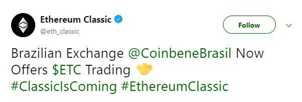 Ethereum Classic's tweet   Source: Twitter