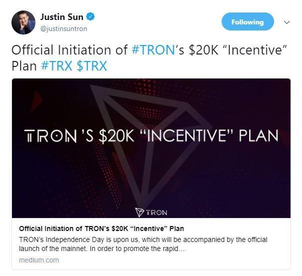 Justin Sun's tweet | Source: Twitter