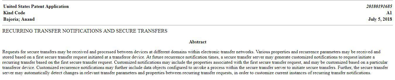 Abstract of the patent filed by Western Union