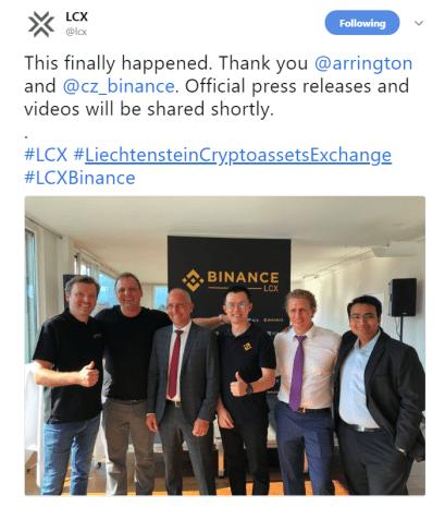 LCX, Binance joint venture | Source: Twitter