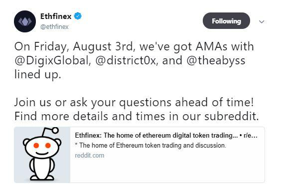 Ethfinex's tweet | Source: Twitter