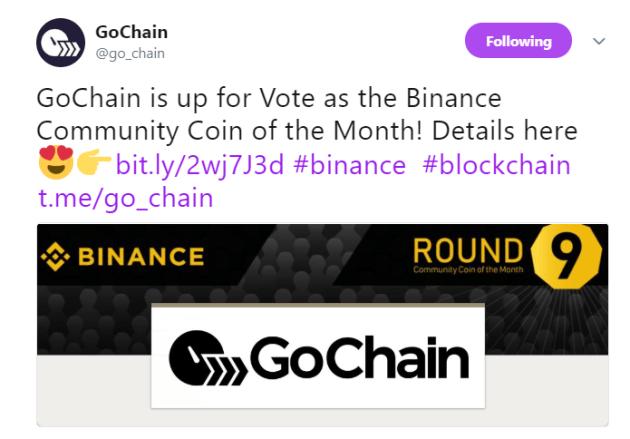 GoChain's official announcement | Source: Twitter