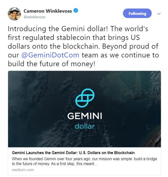 Tweet by Cameron Winklevoss | Source: Twitter