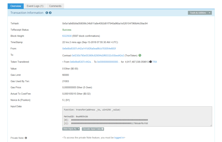 TRX ERC20 token burn | Source: Etherscan
