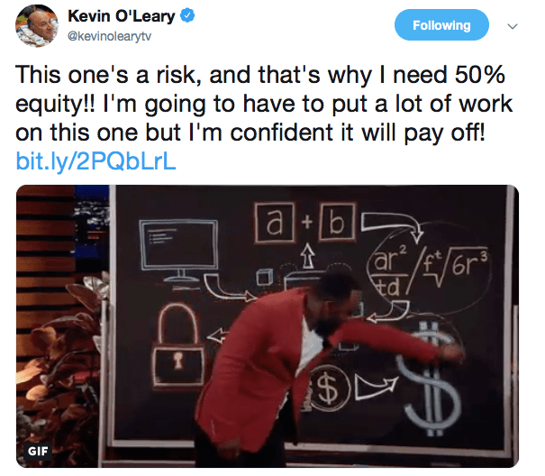 Kevin's post about his investment | Source: Twitter