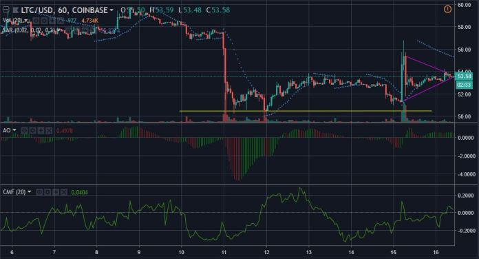 Litecoin 1-hour price candles | Source: tradingview