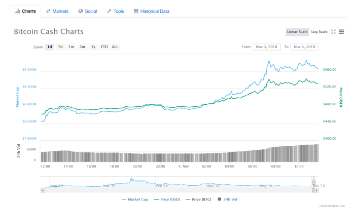 BCH 1-day price | Source: CoinMarketCap