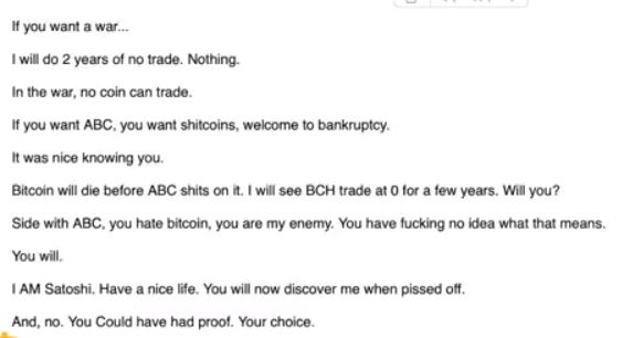 Craig Wright's email | Source: Roger Ver