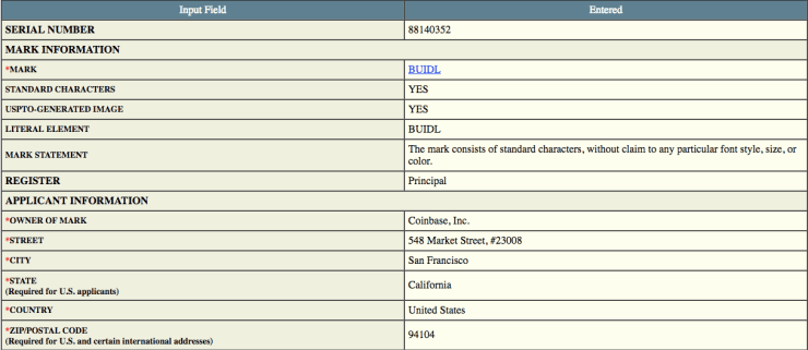 Coinbase filing with the USPTO | Source: USPTO