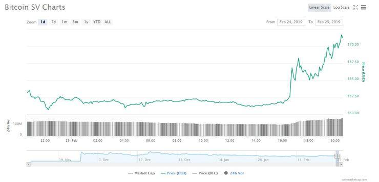 BSV 1-day chart   Source: Coinmarketcap