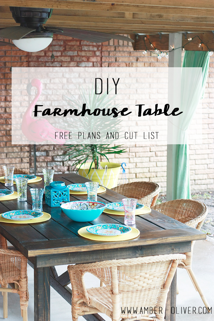 DIY Farmhouse table indoor outdoor plans with cut list from Amber Oliver.com