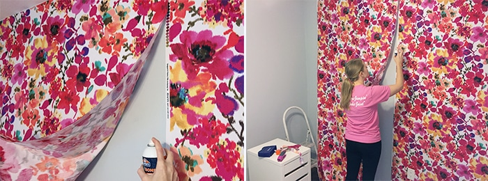 hanging-the-fabric-for-diy-fabric-covered-wall