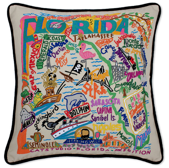 Hand Embroidered State Pillow
