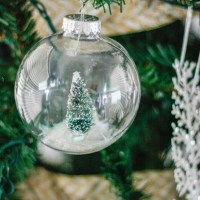 DIY Snow Globe Ornament – How to fill clear ornament with a bottle brush tree!