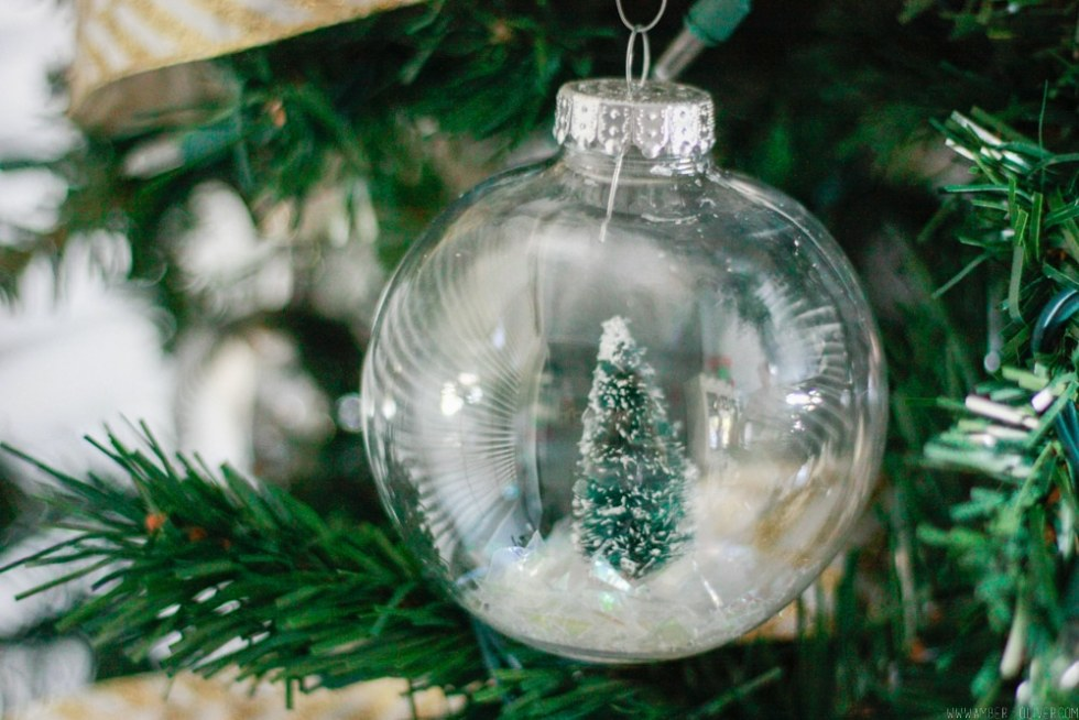 DIY Snow Globe Ornament - How to fill clear ornament with a bottle brush tree!