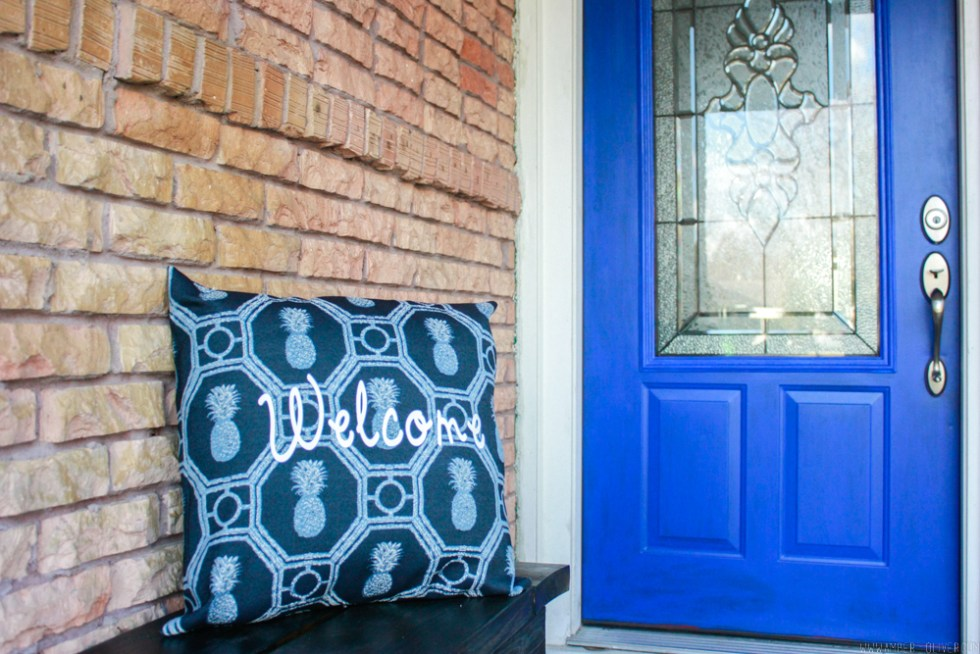 Welcome Outdoor Pillow with Heat Transfer Vinyl