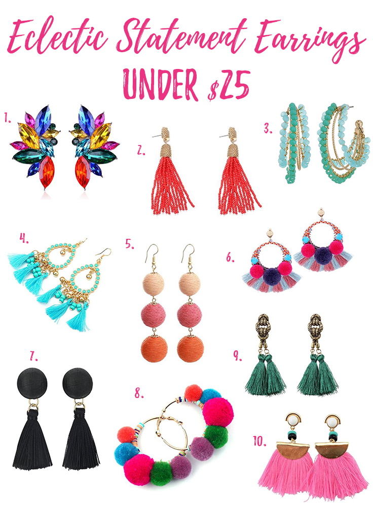 Eclectic statement earrings under $25