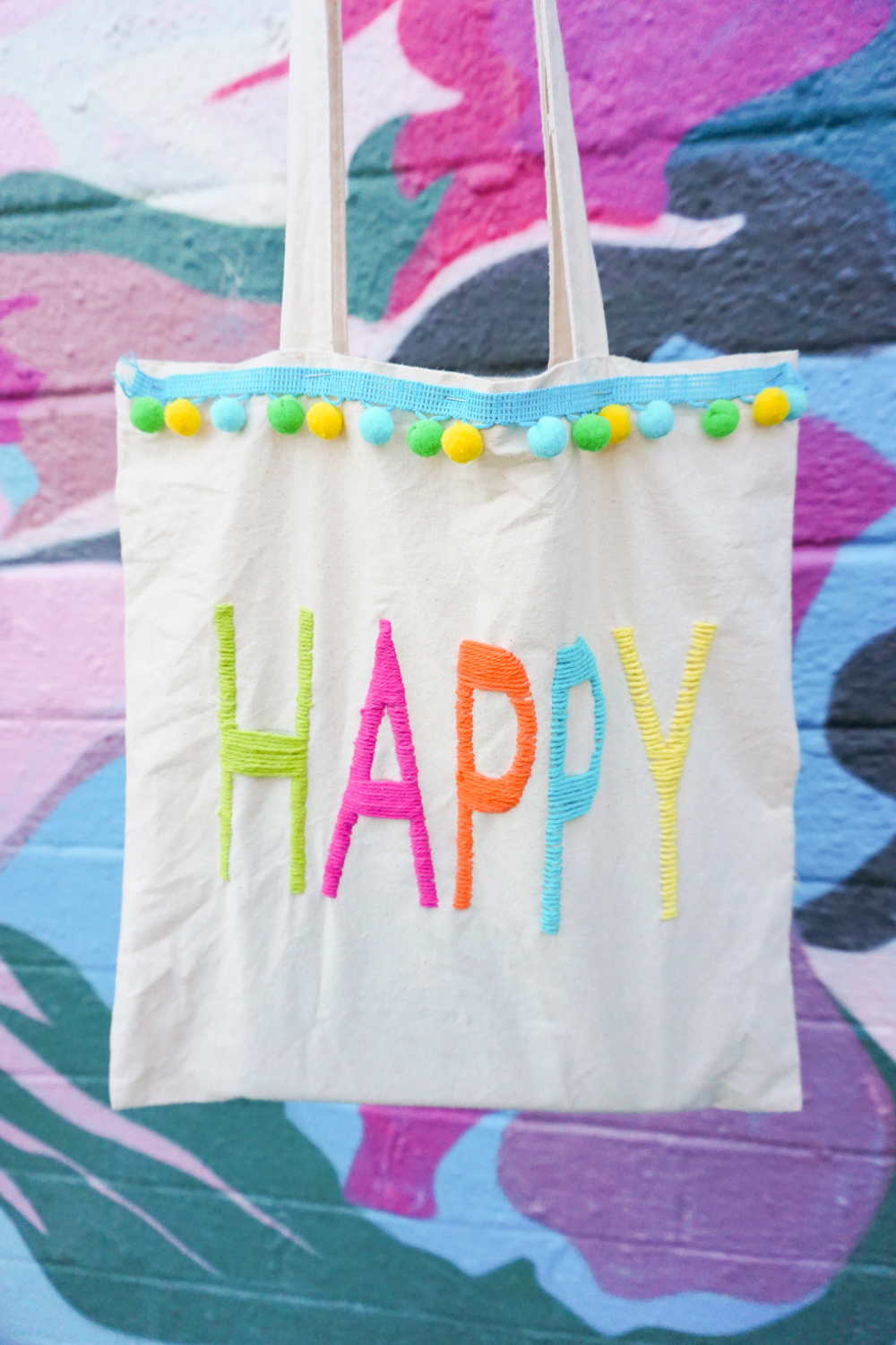 Yarn Embroidery: How to Embroider Letters (A HAPPY DIY Tote Bag)