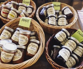 homemade jams with their fruits