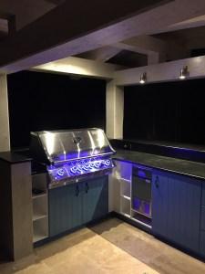 Exterior, kitchen, night, lights, BBQ, blue