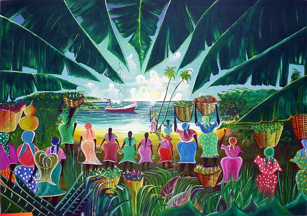 Garifuna Community Greeting A Visitor At The Shore