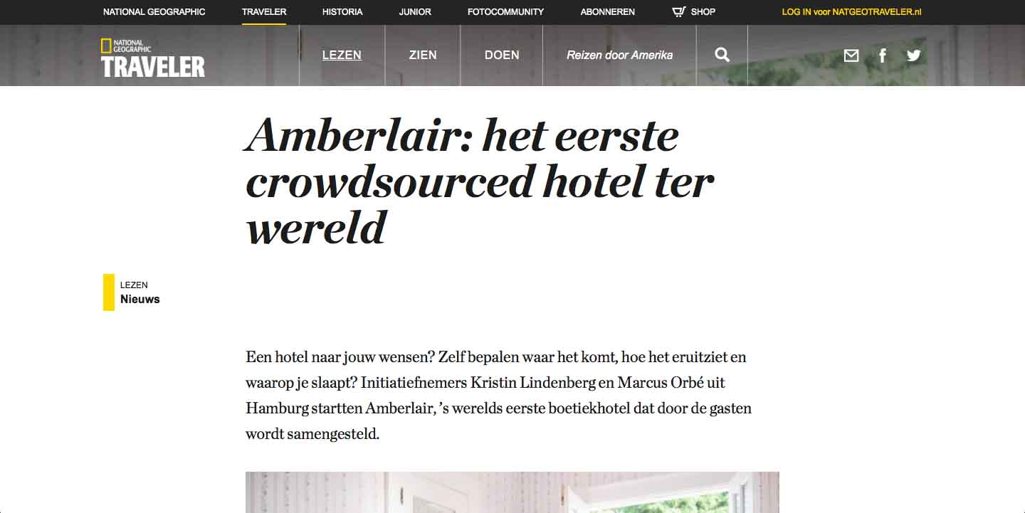 Amberlair Crowdsourced Crowdfunded Boutique Hotel National Geographic Netherlands