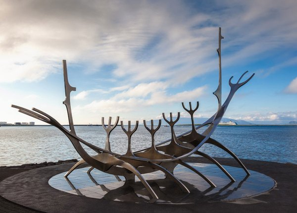 Sun Voyager monument is located by the sea in the center of Reykjavik in Iceland designed by Jon Gunnar Arnason
