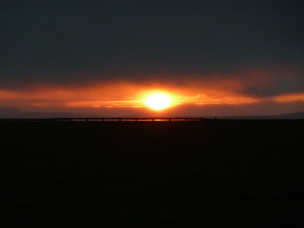 The midnight sun close to Vik in Iceland