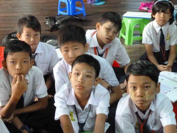 Burmese kids at the monastery