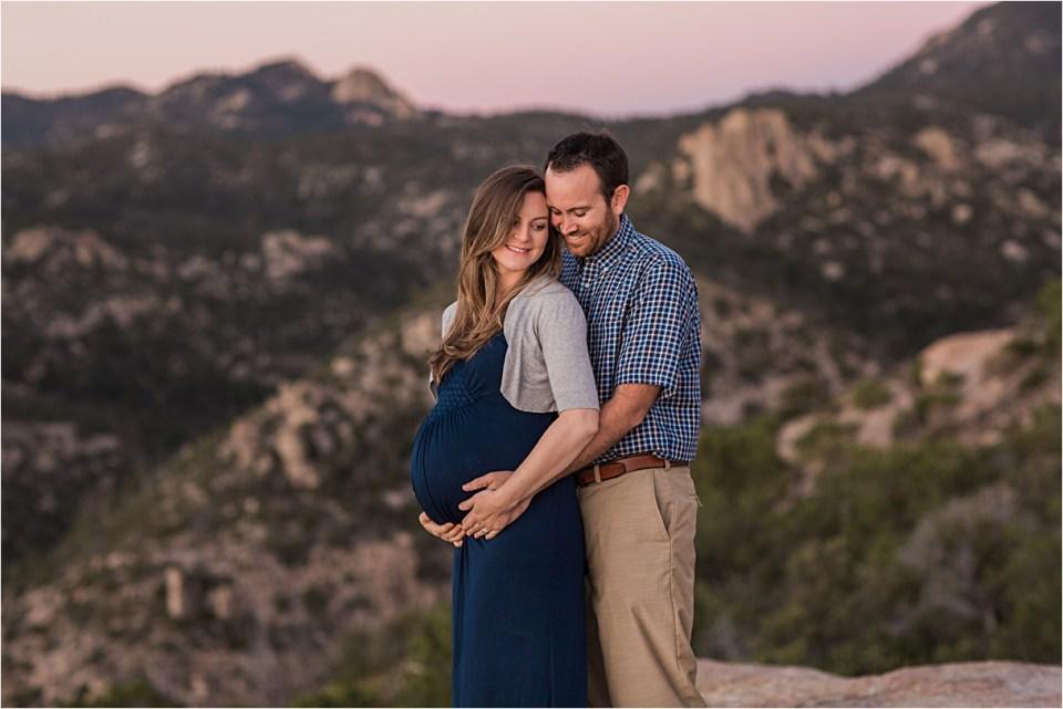 maternity_mount-lemmon_pregnant-mother_blue-dress_super-moon_sunset_08