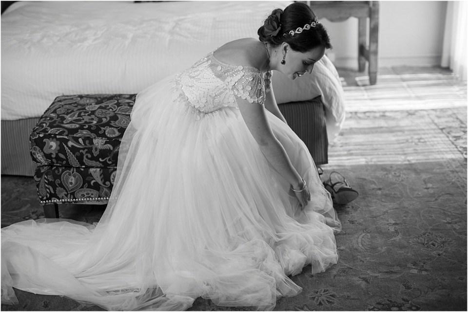 Bride getting dressed at Hacienda Del Sol, Tucson Arizona