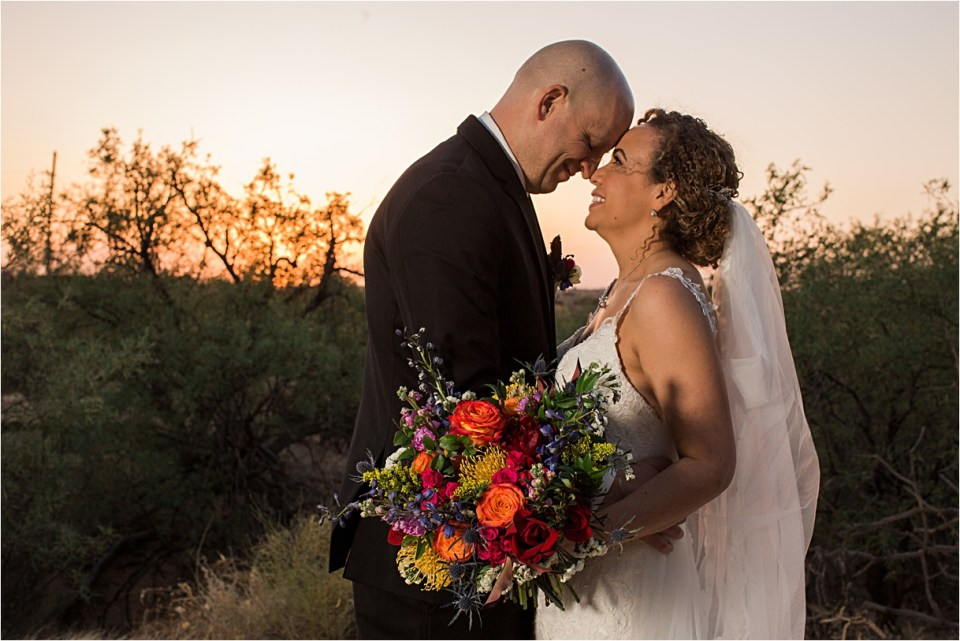 Bride and Groom at sunset at Reflections at the Buttes in Tucson, Arizona