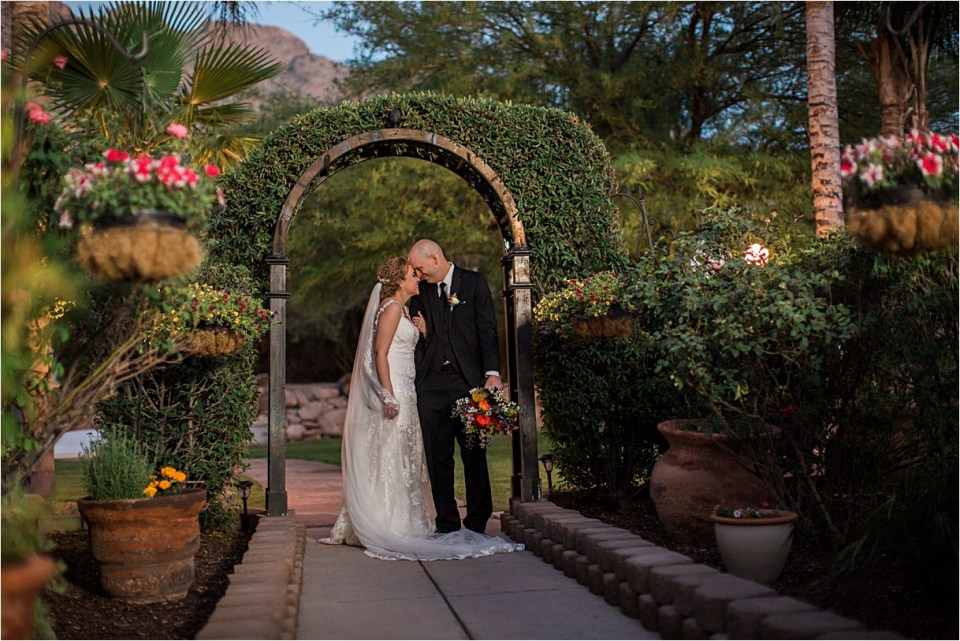 Bride and Groom at Reflections at the Buttes in Tucson, Arizona