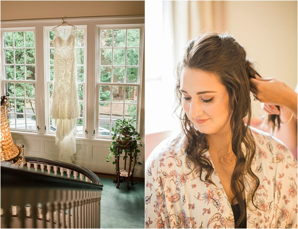 Bride getting ready at Morehead Inn in North Carolina. Amber Lea Photography.