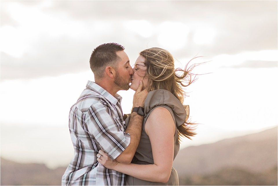 Windy engagement session on Mount Lemmon.
