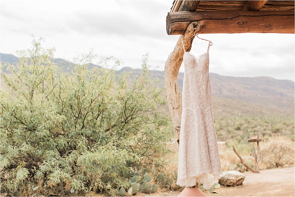 Bridal gown outside the casita at Tanque Verde Guest Ranch